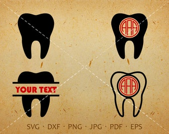 Tooth SVG, Tooth Monogram SVG, Dentist Clipart Shirt SVG Silhouette Cricut Cut Files Commercial and Personal Use