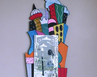 POST MODERN Art Hand Made, Painted & Etched Mirror Dated '93 memphis milano mendini sottsass CITYSCAPE