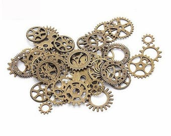 17 charms mixed gear Steampunk hollow Antique Bronze