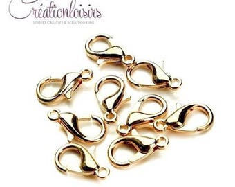 20 clasps color gold 12 mm