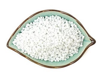 100 white glass Czech seed beads