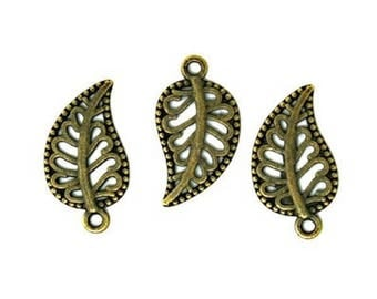 10 leaf charms - bronze
