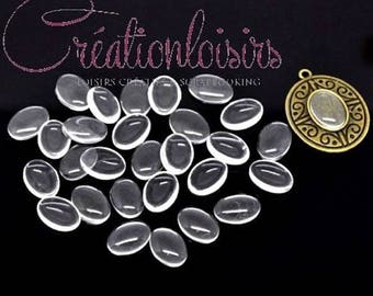 10 cabochons Dome scrapbooking glass oval clear 14 x 10 mm