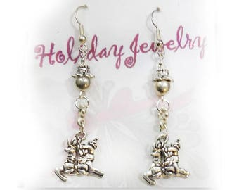 Dangle Reindeer earrings -   silver reindeer earrings  Christmas Jewelry - Christmas Reindeer earrings - Christmas party Earrings,-  # J 5