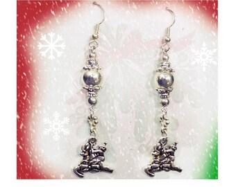 Christmas party Earrings ,Reindeer earrings - Dangle Reindeer earrings -   silver reindeer earrings  -Christmas Jewelry -  - # J 14