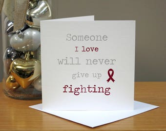 Handmade Multiple Myeloma Cancer Support Card - Burgundy Ribbon - Get Well Soon Card - Congratulations - Sympathy Card - Thinking Of You