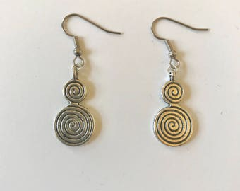 Silver Pewter Celtic Spiral Earrings