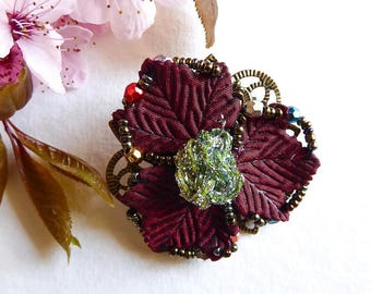 Embroidered with Burgundy beads green flower brooch