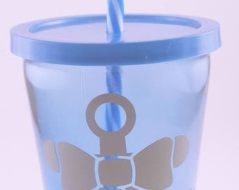 Anchor - Blue Tumbler - Glass Tumbler - Summer Tumbler - Personalized Tumbler - Personalized Tumbler with Straw - Tumbler with Straw
