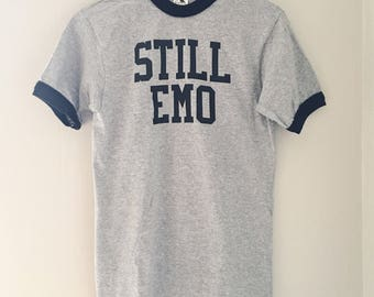 STILL EMO heather grey ringer tee