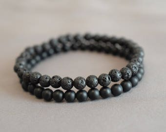 Mens bead bracelets stack mens lava bracelet mens onyx bracelet black on black men black bead bracelet set