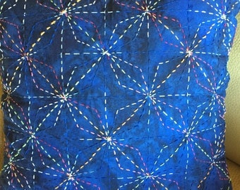 "Sashiko Stitched ""Diamond Stars"" Pillow 16"" x 16"" with Insert"