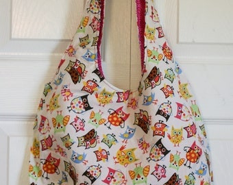 Handmade roomy, reversible and machine-washable Tote Bag in a whimsical owl pattern.