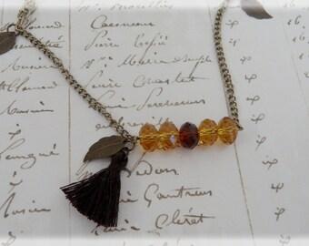 Crystal beaded bar necklace