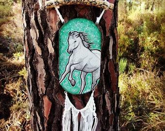 White Mare Spirit Guide,wood wall hanging,hand drawn animal illustration,forest,vegan art, macrame, upcycled wood