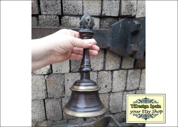 Campana de mano grande, Campana de mano bronce, Campana vintage, Campana de escuela, Campana mango, Campana antigua, Antigua campana comprar
