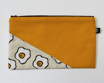 Zipper pouch | cosmetics bag | make-up bag |  printed design | pencil case |  rubber stamp | eggs