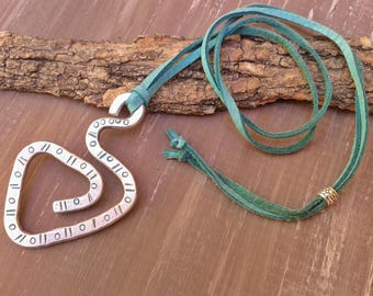 Leather necklace, pendant, necklace engraved aluminum, suede, turquoise necklace, aluminum jewelry
