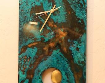 Copper Wall Clock.  Pendulum Clock.  Metal Art. Copper Patina. Copper Art.  Wall Art. Wall Decor. Abstract Art. 7th Anniversary.