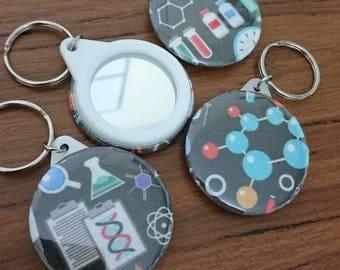 Science fabric mirror keyring 45mm gift present stocking filler biology chemistry physics teacher friend