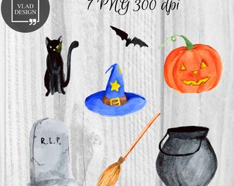 7 Watercolor Halloween Elements Halloween Clipart Horror Clipart Digital Elements Cute watercolor graphics Watercolor illustration