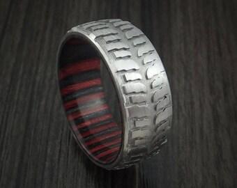 titanium mud tread tire ring with applejack hard wood sleeve custom made - Mud Tire Wedding Rings