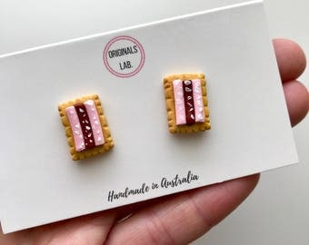 Scented Iced Vovo Earrings on Surgical Stainless Steel Studs - A Classic Australian Biscuit