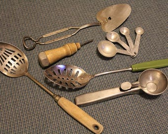 Vintage Kitchen Utensils ~ Gadgets ~ Foley ~ Goodell ~ Slotted Spoons ~ Ice Cream Scoop~ Vintage Collectibles from the 1960's & 1970's