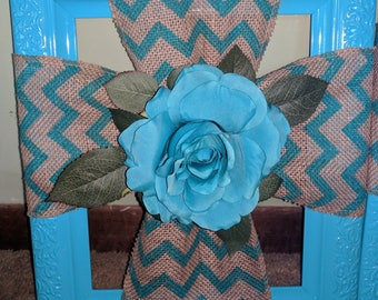 Picture Frame with Burlap Cross and Flower