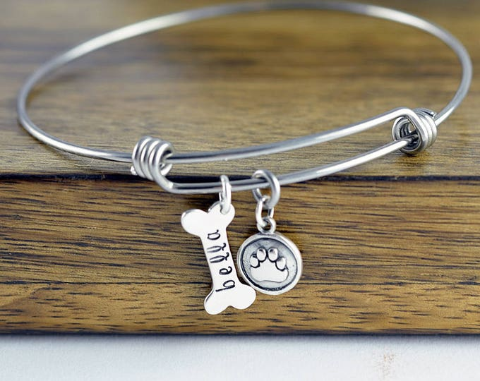 Dog Bone Bracelet, Dog Bone Charm, Dog Mom Gift, Dog Paw Charm, Dog Charm Necklace, Dog Lover Necklace,Dog Lover Gift, Animal Lover Gift