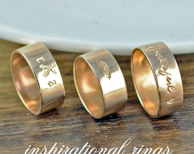 Inspirational Gifts, Inspirational Jewelry, Gift for Her, Unique Gift, Gold Ring, Word Ring, Hand Stamped Ring, Personalized Ring