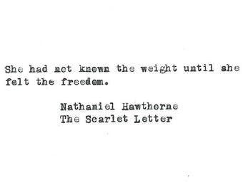 Nathaniel Hawthorne Scarlet Letter Hester Prynne hand typed vintage typewriter quote