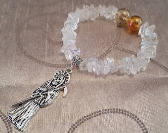 Santa Muerte Aura/Quartz Bracelet