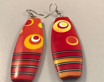 Handmade 'Yellow Circle' polymer clay Earrings, unique gift