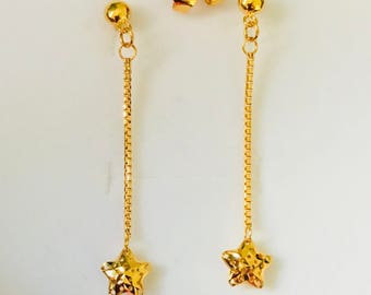 Solid 22k gold 916 gold purity stars dangle drop earrings 916 solid gold