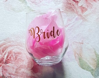 Stemless wine glass wedding glassware. Bridal gift beautiful custom bar glass. Bridesmaid, MOH, drinking glass, bridal party, name, role.