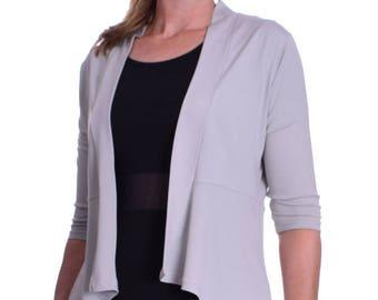 Elegant Light Summer Peplum Style Cardigan Blazer Jacket Light Grey UK 10