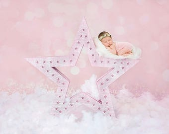 """Newborn Digital Backdrop for girls - """"Wish upon a star"""" in pink"""