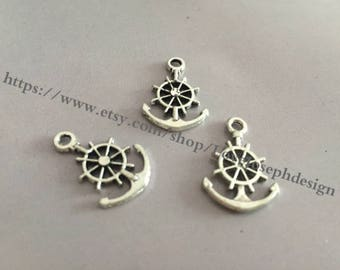 wholesale 100 Pieces /Lot Antique Silver Plated 24mmx14mm Anchor Charms (#053)