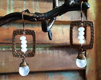 Moonstone, Quartz and Copper Earrings