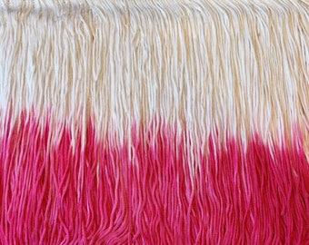7'' Inch Long Fringe Two Tone Color Pink and White Chainette Fringe Price Per Yard