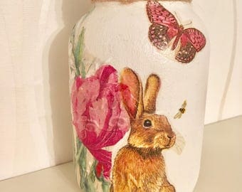READY TO SHIP Bunny/Hare mason jar, storage jar, easter gift, Mother's Day, home decor, spring decor, bunnies