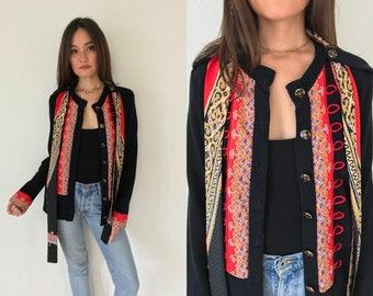 Vintage 80s Gucci-esque Printed Scarf Cardigan