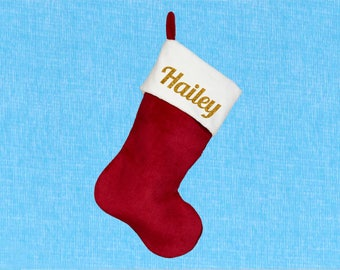 Personalized Red Stocking - Traditional Red Plush Christmas Stocking Customized With Name - Christmas Stocking Gift - Custom Name Stocking