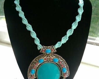 Statement necklace turquoise tibetan silver pendant