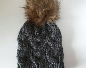 Charcoal fitted cable hat, fitted cable beanie with faux fur pom, faux fur pom hat,  grey hat, braided hat, gray winter beanie, grey rts hat