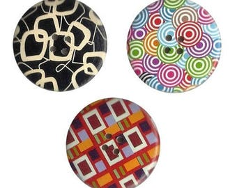 3 round buttons, sewing, scrapbooking, MIX 4 cm