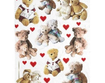 1 sheet of 21 x 28 cm Teddy 464 collage decoupage rice paper