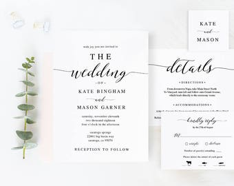 Wedding invitations etsy nz printable wedding invitation template wedding invitation set diy wedding cards download modern stopboris Image collections
