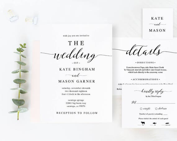 Wedding Invitation Samples Free Templates: Printable Wedding Invitation Template Wedding Invitation Set